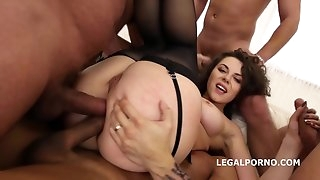 Gigantic booty slut Sofya Curly in balls deep dp and double anal 5 on 1 gangbang