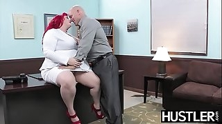 Redhead BBW Eliza Allure jizz wiped after office banging
