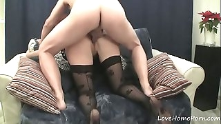 Hot redhead in tights sucks off her lover