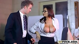 Tight student and chesty teacher threeway with horny guy