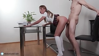 Schoolgirl Passionate Deep throating Humungous Dick Teacher and  Hard Pussy Fuck