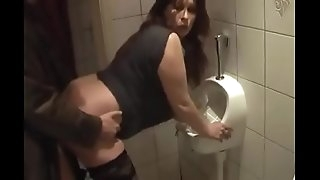 German Milf get fine Fuck from Young Boy on the toilet