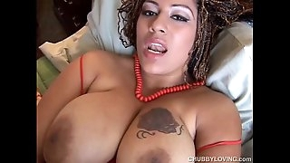 Beautiful big bra-stuffers black BBW nails her fat juicy pussy for you