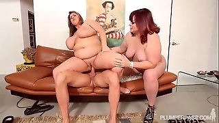 2 Yam-sized Tit BBW MILFS Take on Hubby Stud Cock